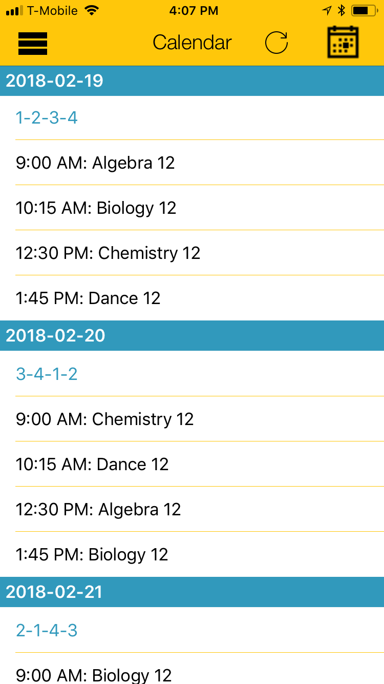Calendar with Personalized Class Schedule